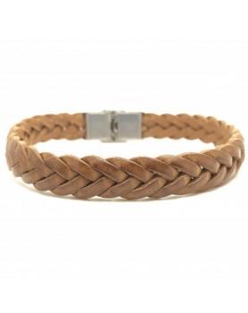 Bracelet cuir camel Tressé...