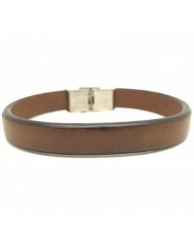 Bracelet cuir plat marron