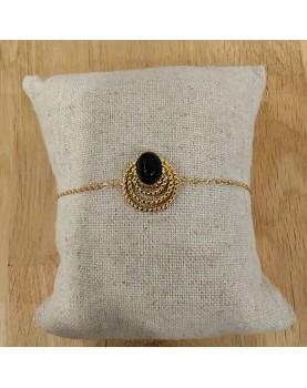 Bracelet doré et noir Louna