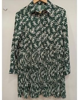 Robe plissée verte Sylvia