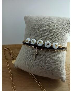 Bracelet doré et noir Happy