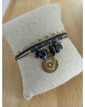 Bracelet doré et noir Malaga