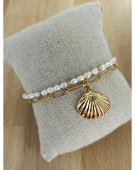 Bracelet doré et blanc Calypso
