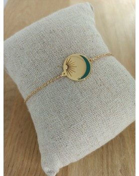 Bracelet doré et vert Chloé