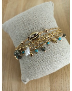 Bracelet doré multi-rangs...