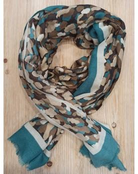 Foulard marron et bleu...