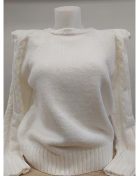 Pull blanc à épaulettes Evie